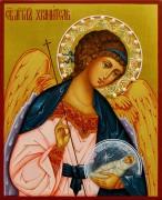 Рукописная икона Ангел Хранитель с жемчугом 57 (Размер 13*16 см)