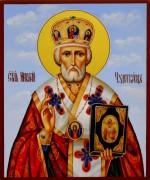 Рукописная икона Николай Чудотворец 44 (Размер 17*21 см)