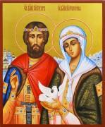 Рукописная икона Петр и Феврония с голубем 81 (Размер 17*21 см)