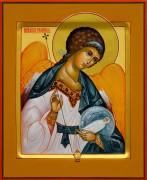 Рукописная икона Ангел Хранитель с Душой 61 (Размер 13*16 см)